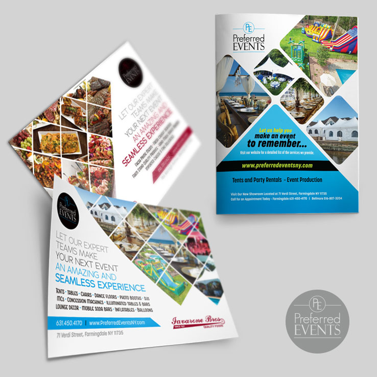 Preferred Events Full Page Ad and Postcards